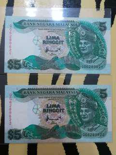 MALAYSIA RM5 7th Series running numbers x 2