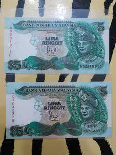 MALAYSIA RM5 6th Series Cross at Flagpole x 2