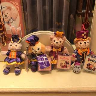 PO Hk Disneyland Halloween Duffy, Shelliemay, Stella Lou and cookie plush keychain