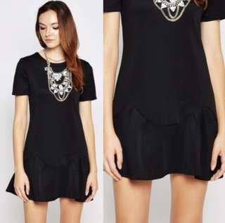 Neoprene black hem dress