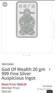 Singapore Mint Fortune God 20gm 999 Fine Silver