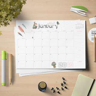🚚 A4 Table Top Planner Scheduler Calendar 2018