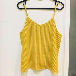 🚚 全新❤️首爾 韓國 背心 條紋 黃色 細肩帶