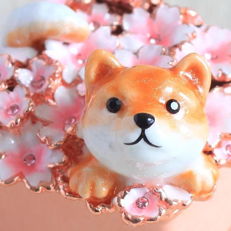 日本原裝正版櫻花狗狗首飾盒
