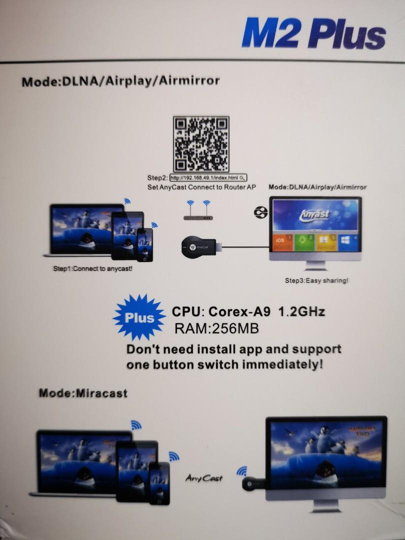 Anycast M2 Plus miracast airplay dlna 1080p HD WiFi display