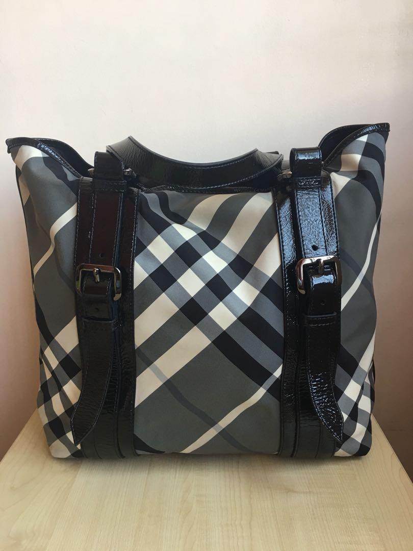 9725a0edb4108 Authentic Burberry Black Beat Check Nylon Lowry Tote Handbag, Luxury ...