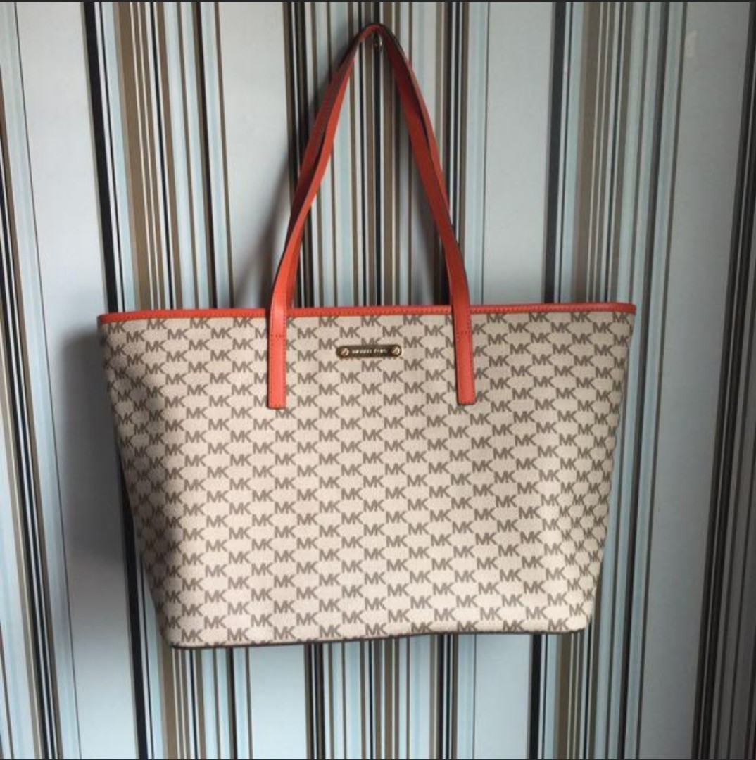 6f6c55b20057 Authentic Michael Kors Emry Large Top Zip Heritage Signature Natural    Orange Coated Canvas Tote on Carousell