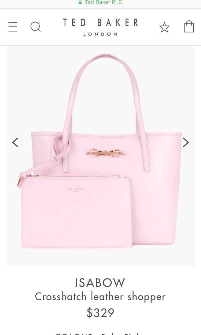 230d55442 Authentic Ted Baker Isabow Crosshatch Leather Shopper Bag (Baby Pink ...