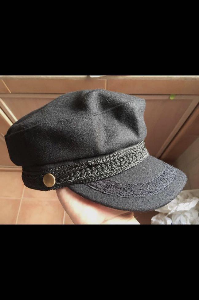 Black Baker Boy Military Style Cap 78cd9d69cb0