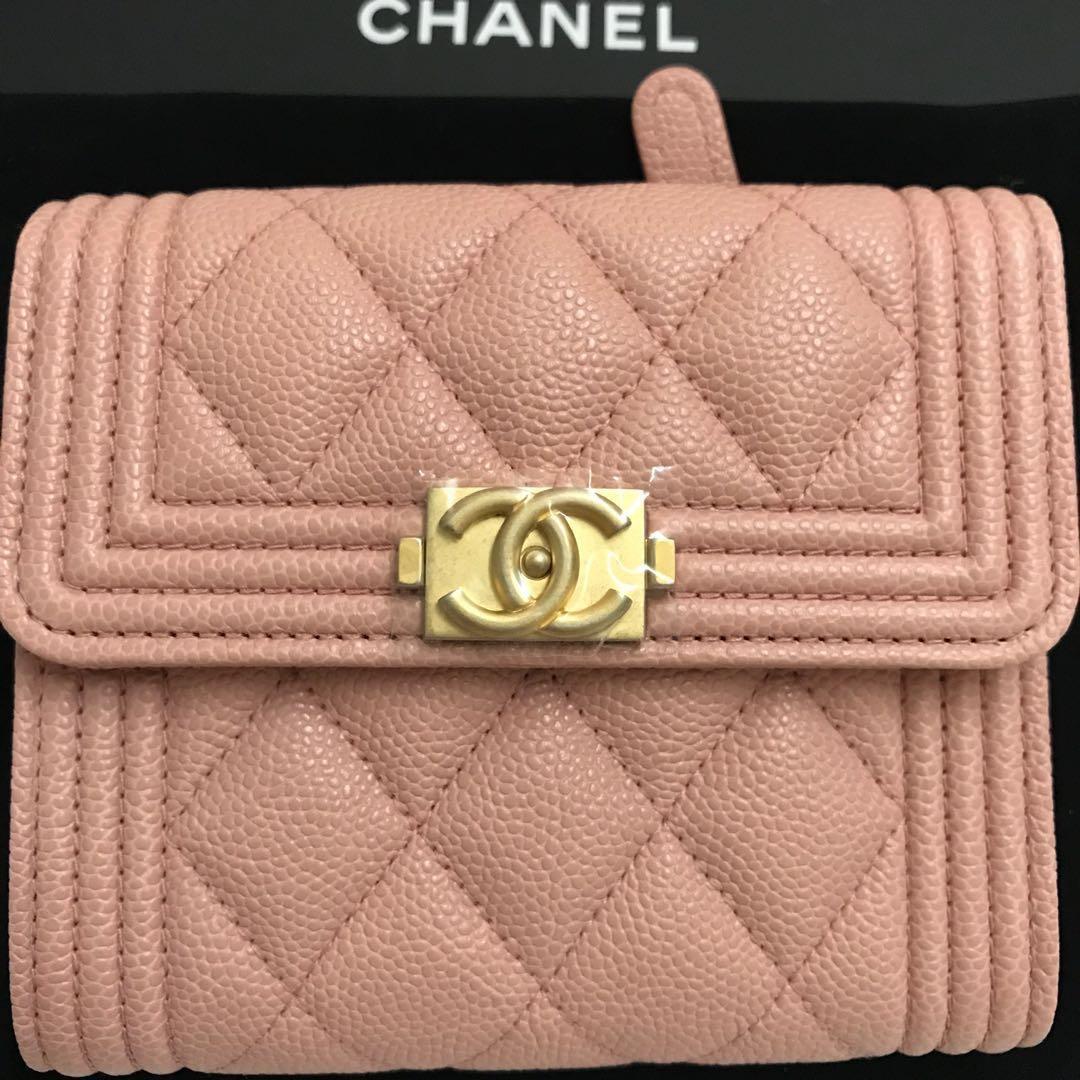e4f8a03820d28c BNIB Chanel 18B Baby Pink Boy Trifold Wallet, Luxury, Bags & Wallets ...