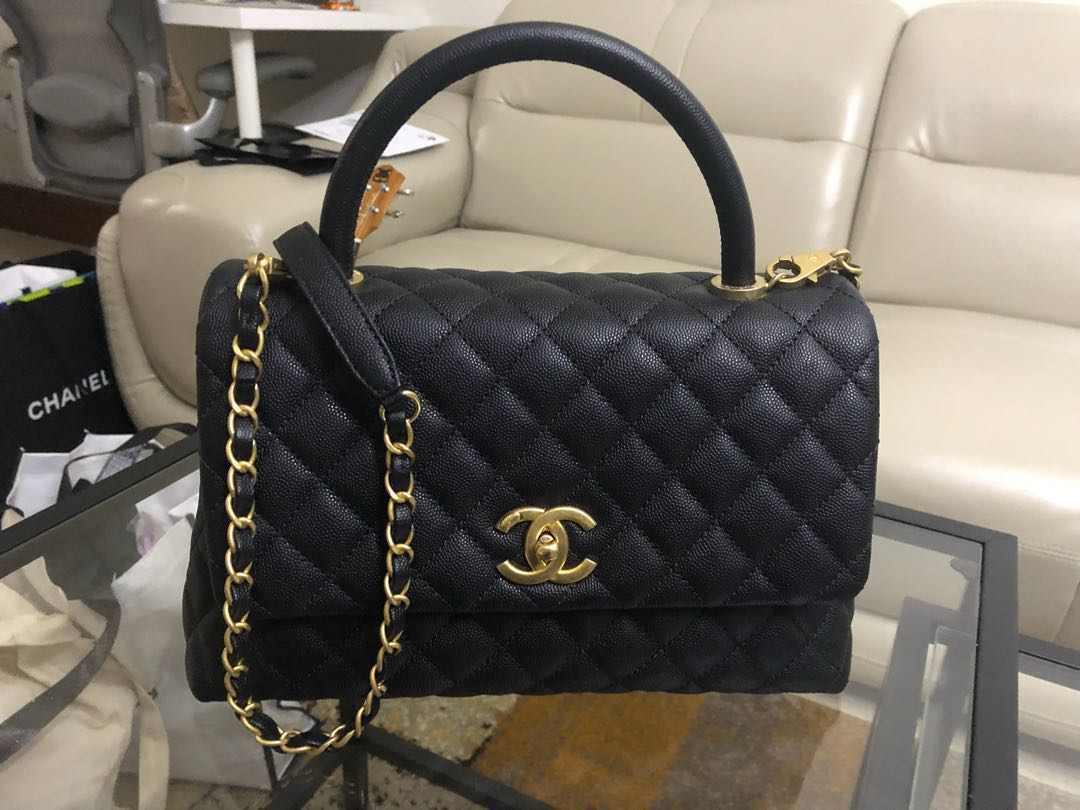 9fad72f161dd8d BNIB Chanel Coco Handle Bag Black Caviar Size Small, Luxury, Bags ...