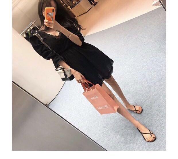 Candy w❤️實拍❤️ 波希米亞復古V領大露背蕾絲短洋裝