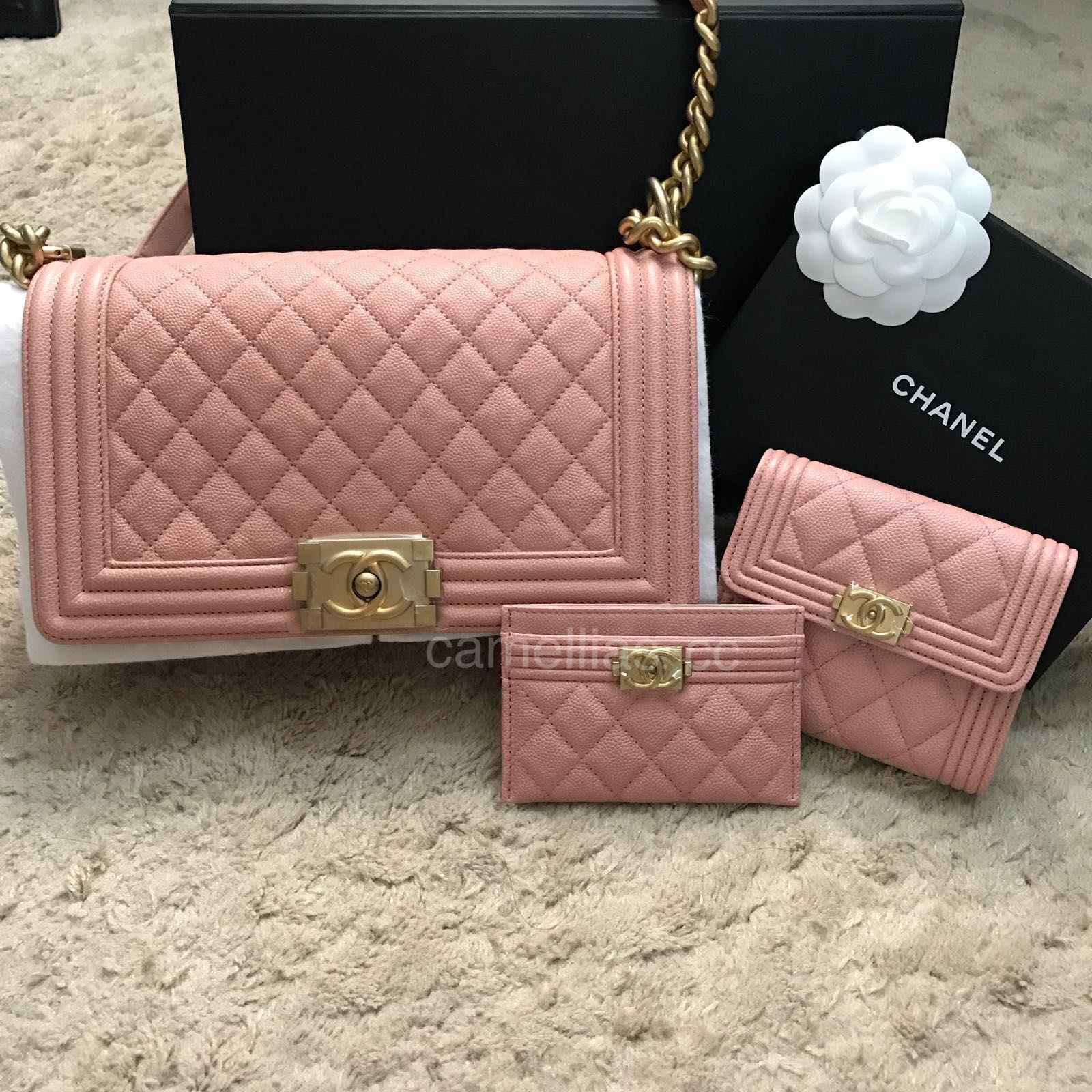 7cc6ad54a50a57 Chanel 18P Blush Pink Boy with Brushed Gold HW, Luxury, Bags ...