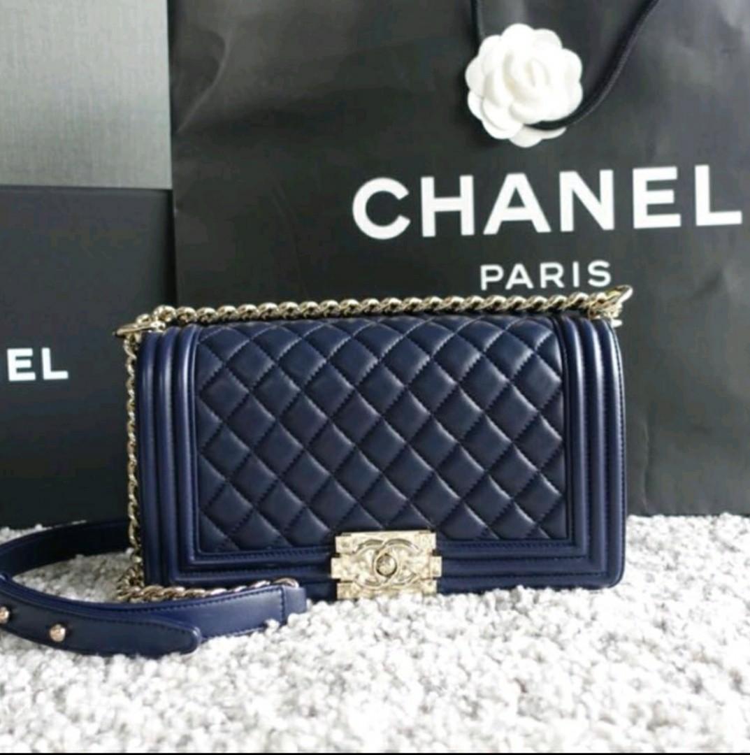38a5c09db6db Chanel Boy Navy Lambskin Light Gold Hardware, Luxury, Bags & Wallets ...
