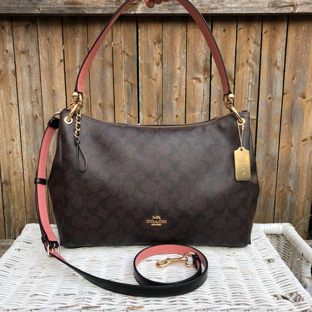 70793a4ca3b7 Coach Signature Mia Shoulder Bag in Brown Black