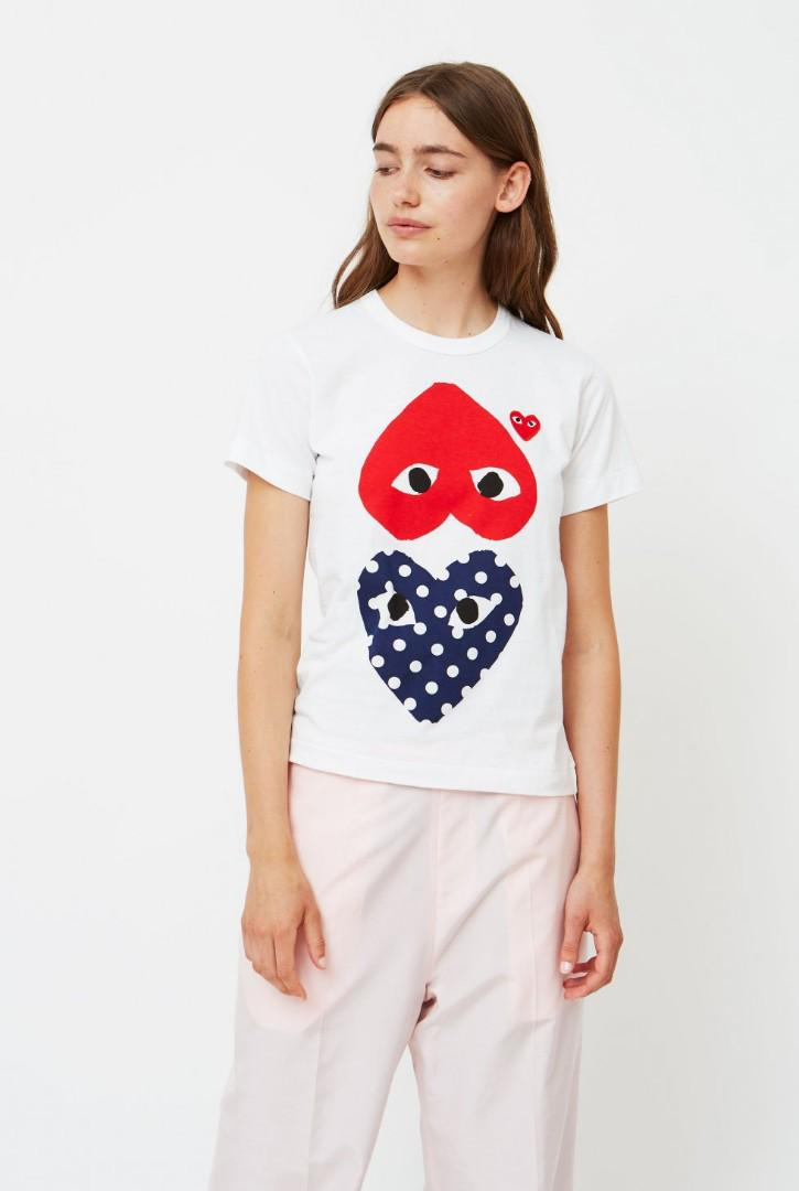 Comme Des Garcons CDG Play Womens Polka Dot Mix Heart Tee size L