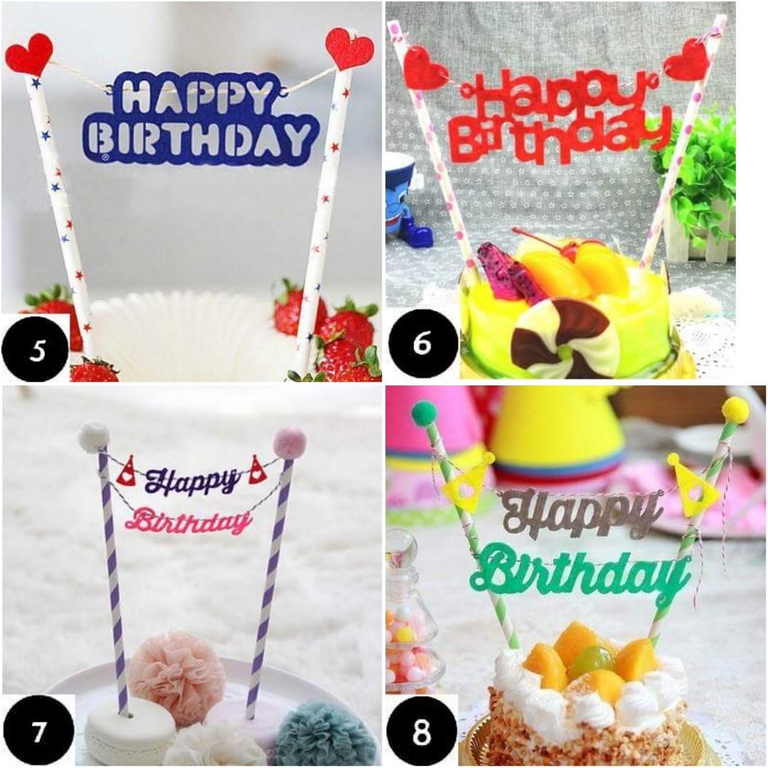 Cute Happy Birthday Cake Topper Bunting Straw Babies Kids