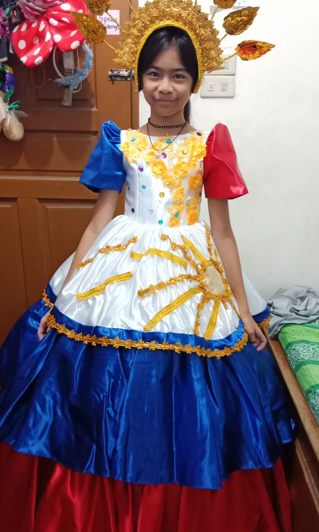 Filipiniana Gown and headress for teens, Babies & Kids, Girls ...