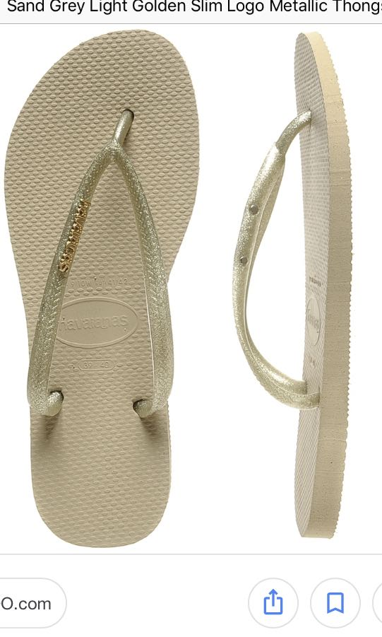 4e51112e333a Havaianas slim Sand Grey Light Golden Slim Logo Metallic Thongs 37 ...