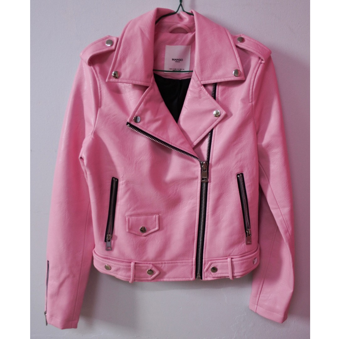 1abbe7137777 Mango Baby Pink Leather Jacket