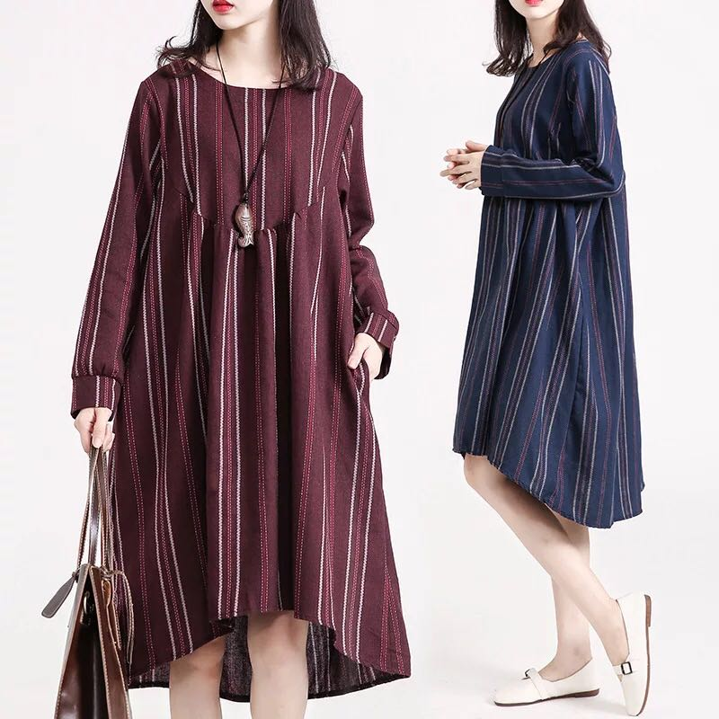 73993a30181 Plus Size Women s bottoming cotton loose long-sleeved dress
