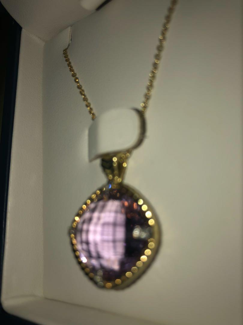 Roped Lavender Amethyst and Diamond Cushion Pendant in 14k yellow gold