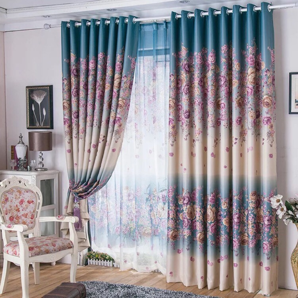 Rustic Flower Blackout Curtains For Living Room Fabric Curtain For Sliding Door Furniture Others On Carousell