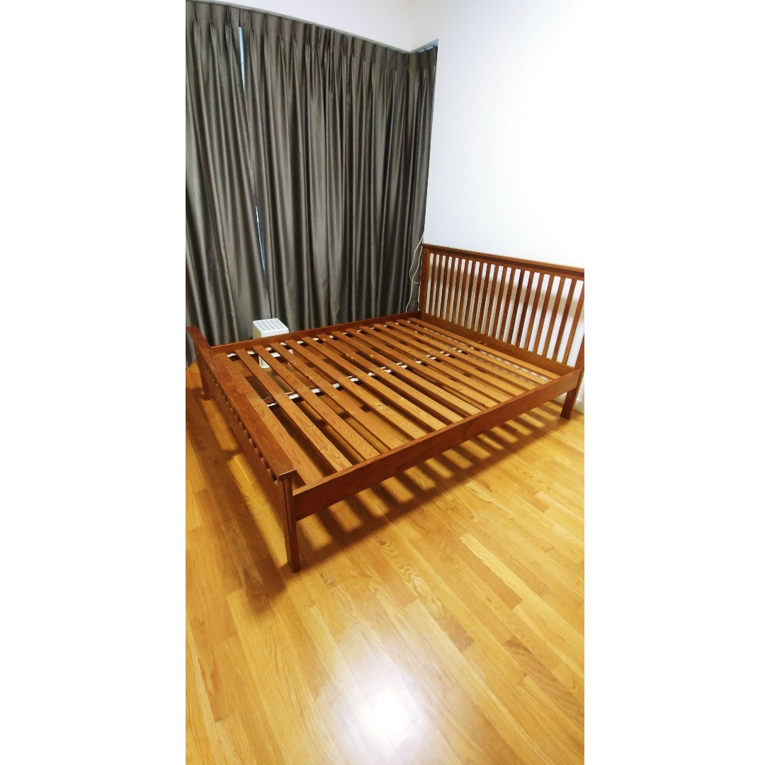 Solid Teakwood Bedframe Queen Size Furniture Beds Mattresses On