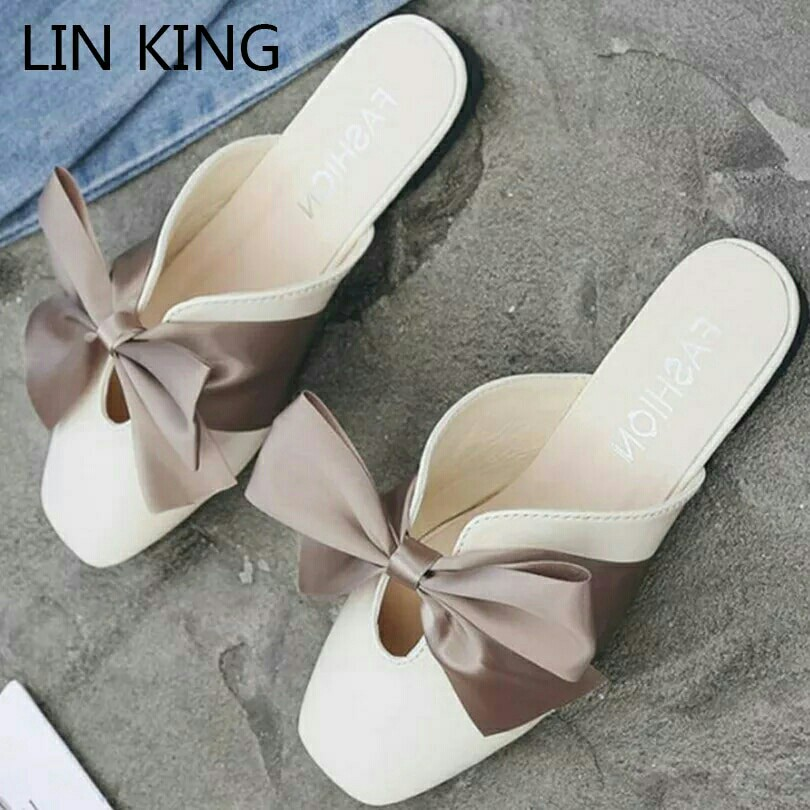 f5272d4fbe88 Sweet Bowtie Women Slippers Anti Slip Square Toe Summer Flats Leather Shoes  Casual Lolita Shoes Comfortable Lady Slides