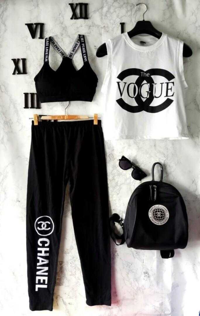 5889e871924f8 Top +sports bra + legging