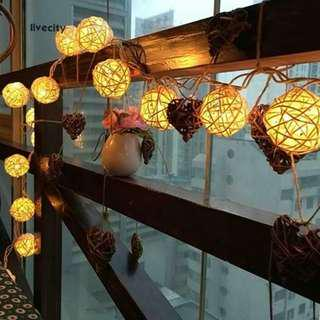 Rattan balls with lights