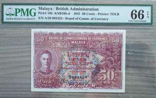 1941 Malaya KGVI 50Cents            Variety b & d PMG Graded 66EPQ