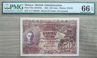 1941 Malaya KGVI 5Cents                Variety a & a PMG Graded 66EPQ