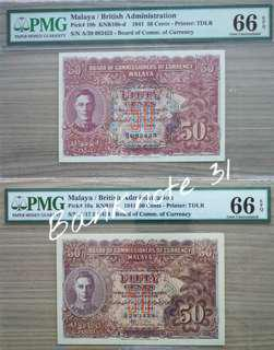 1941 Malaya KGVI 50Cents                 PMG Graded 66EPQ