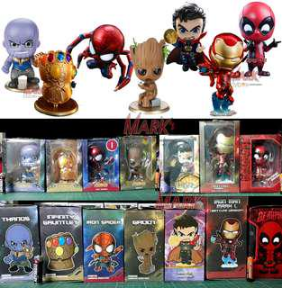 Marvel Avengers Infinity War with Deadpool: Cosbaby K.O. Bobble-Heads Finally Complete set
