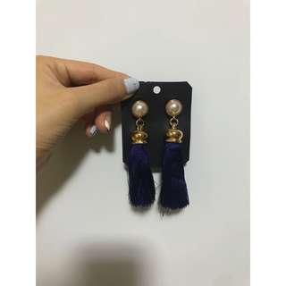 藍色流蘇耳環 earrings