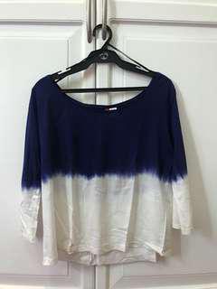 H&M Blue & White Tie Dye Effect Sweater