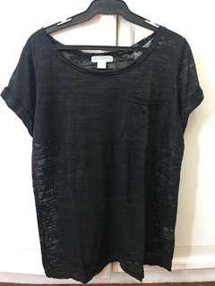 COTTON ON Black See Thru Shirt