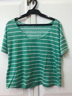 Green & White Stripes Shirt