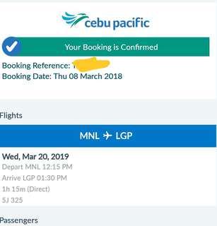 Airfare ticket for 3 MNL-Legazpi