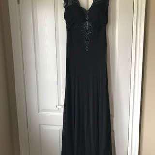 Black embellished maxi dress with train