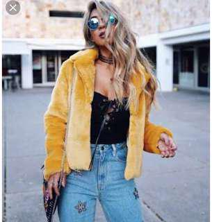MINK PINK yellow faux fur crop jacket