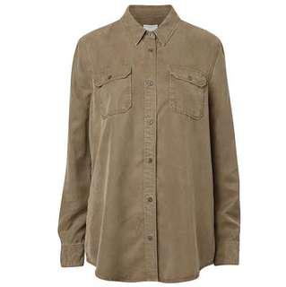 Witchery Luxe Military Shirt Lyocell Khaki Army Green Button Up