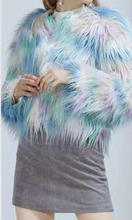 Patchwork style colourful faux fur coat! 🌸