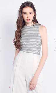 Fayth Daniela Sleeveless Stripe Top - Colour : Grey, Size : M