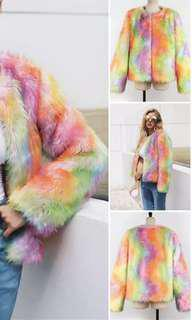 Rainbow faux fur coat 🌈