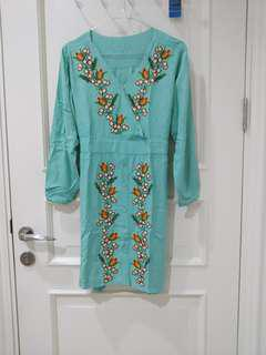 Flower green dress