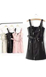 Faux leather zip front overalls