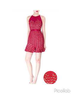 BNWOT Doublewoot Doxmol Red Mesh Crochet Lace Short Dress