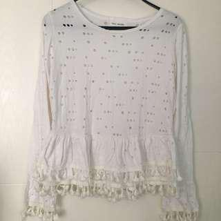 韓國白色長䄂衫